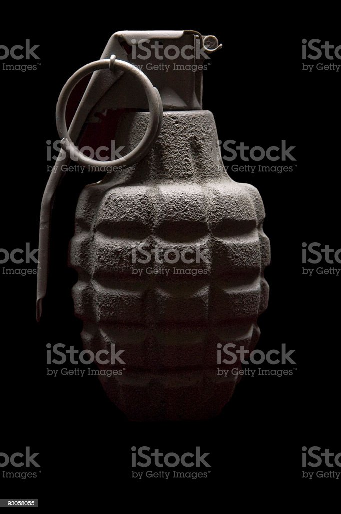 Hand Grenade on Black royalty-free stock photo