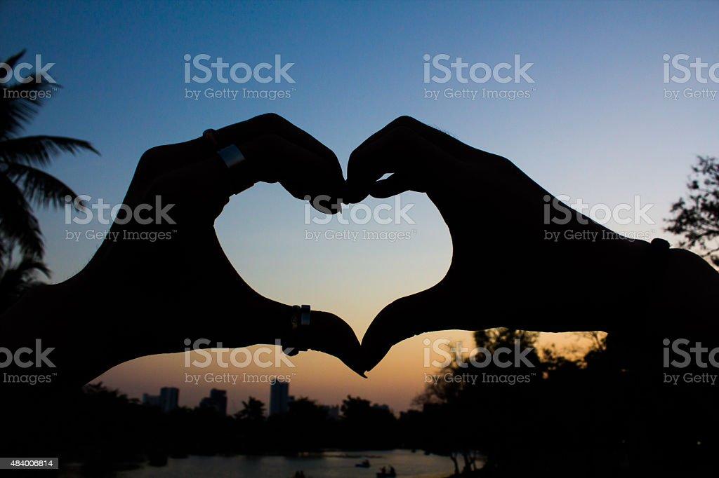 hand heart shape stock photo