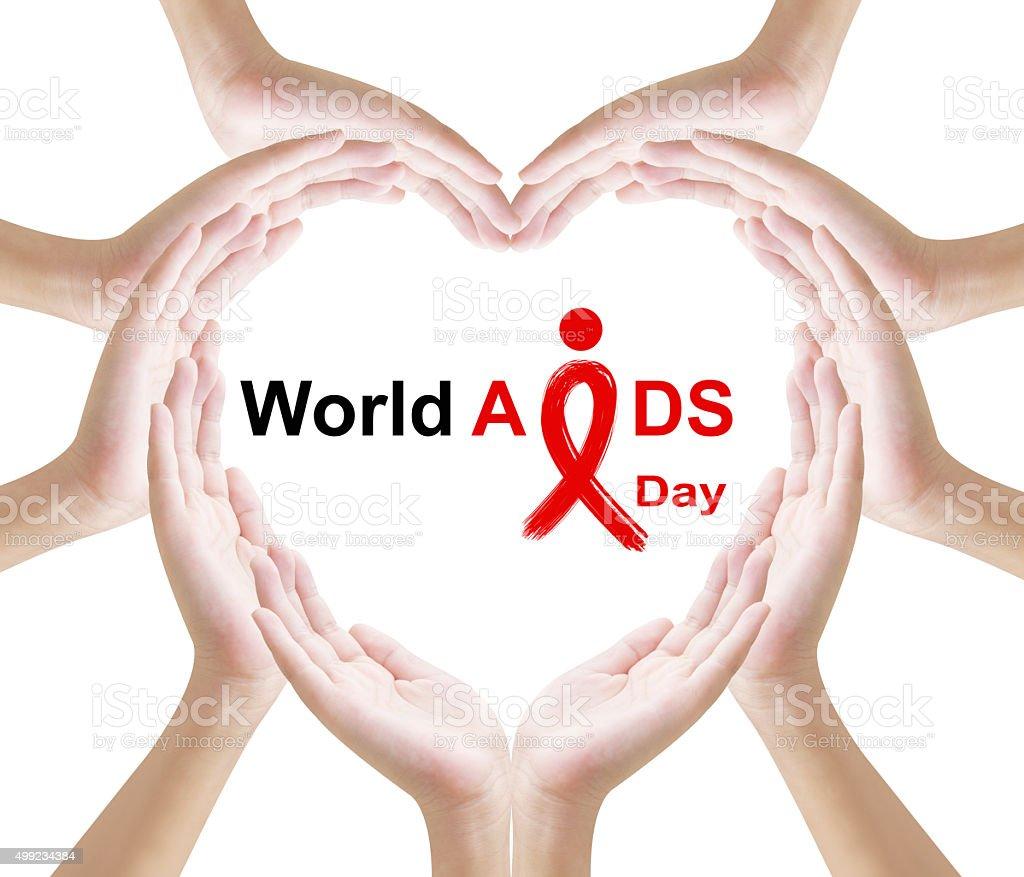Hand heart shape world aids day stock photo