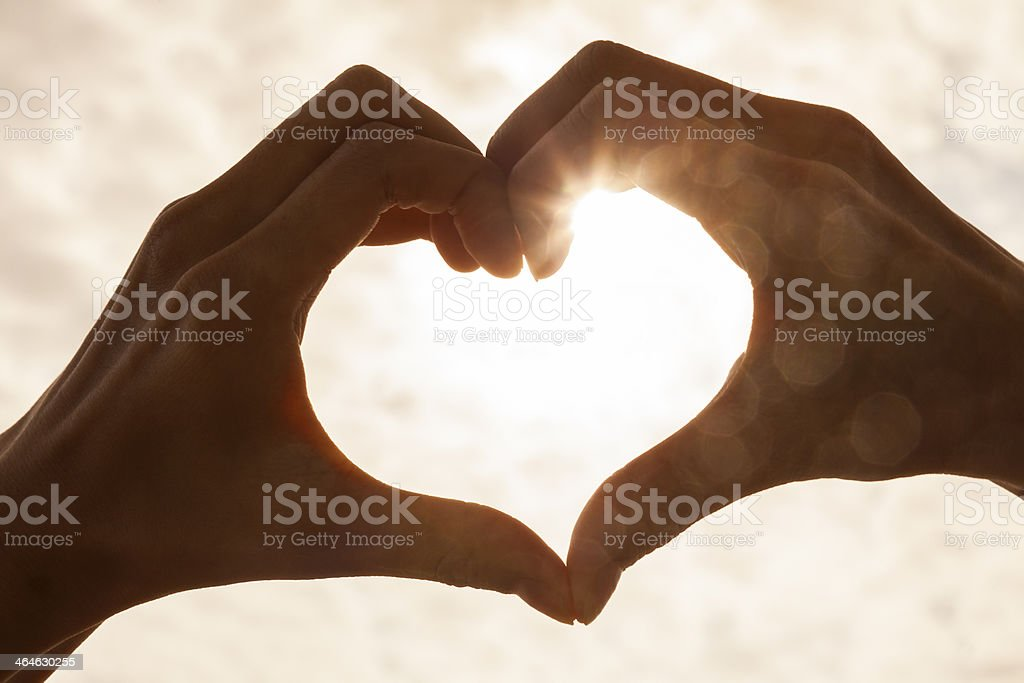 Hand Heart Sunrise Sunset stock photo