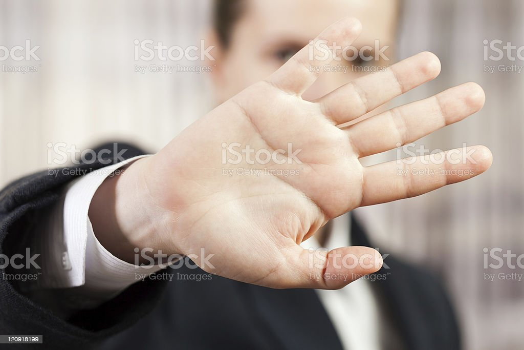 Hand hiding face royalty-free stock photo