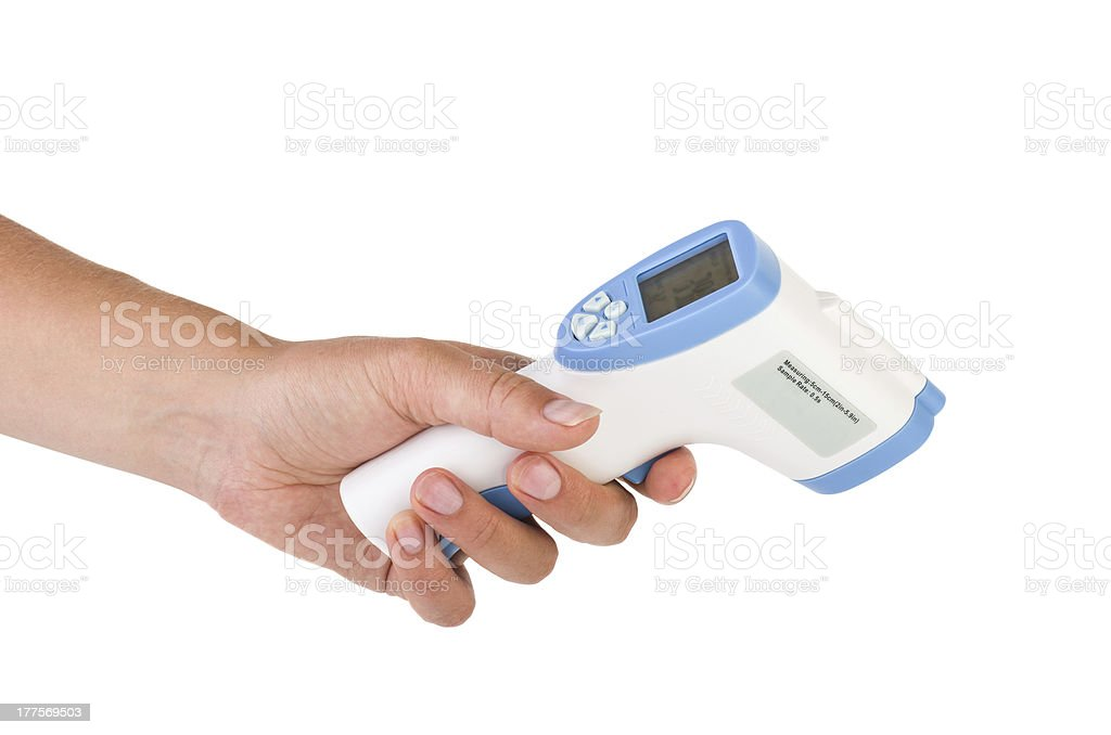 Hand hold a non-contact IR thermometer royalty-free stock photo