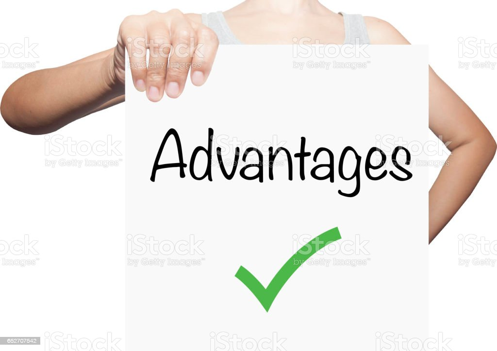 hand hold a white placard presenting phrase of advantags .Business, technology, internet concept. stock photo