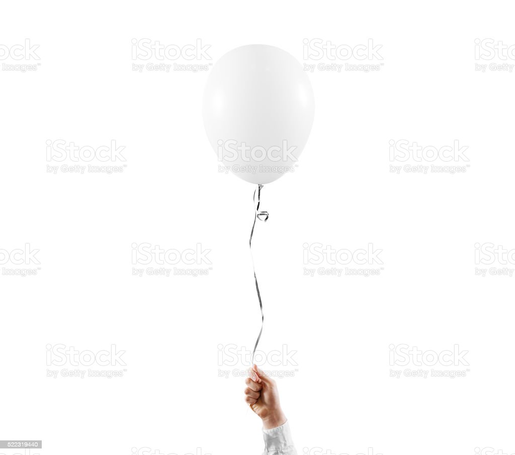 Hand hold blank white balloon mock up isolated stock photo