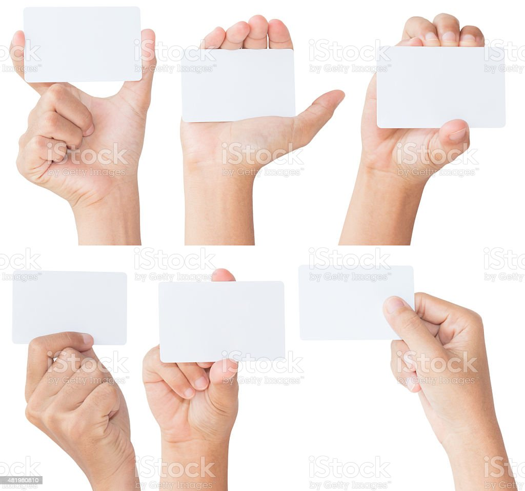 hand hold blank white card isolated with clipping path stock photo