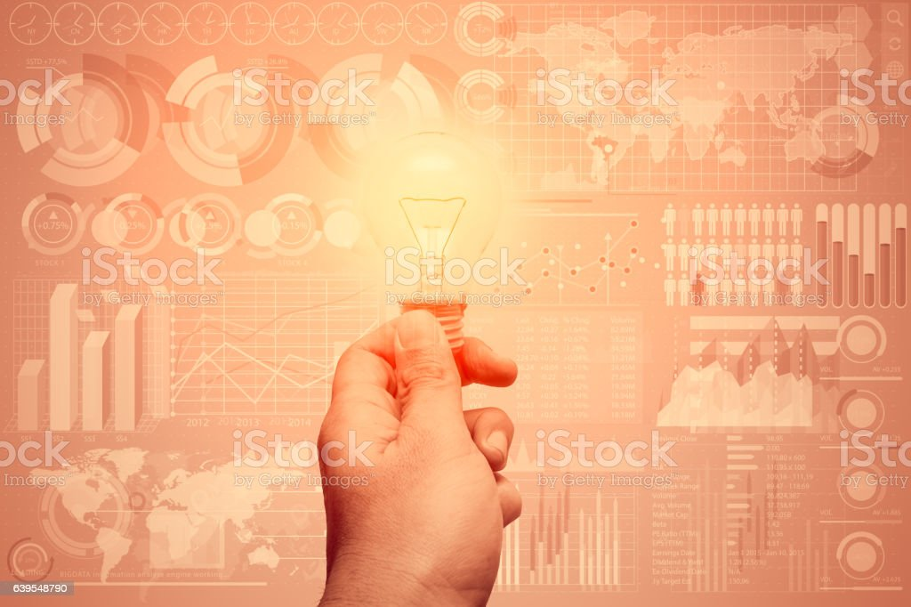 hand hold bulb with professional business data technical stock photo