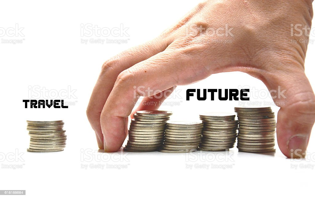 hand hold coin,divided money into two groups royalty-free stock photo
