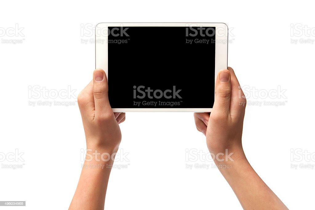 hand hold digital tablet, cut out on white background stock photo
