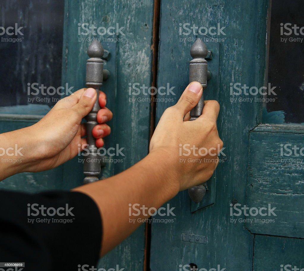 hand hold door stock photo