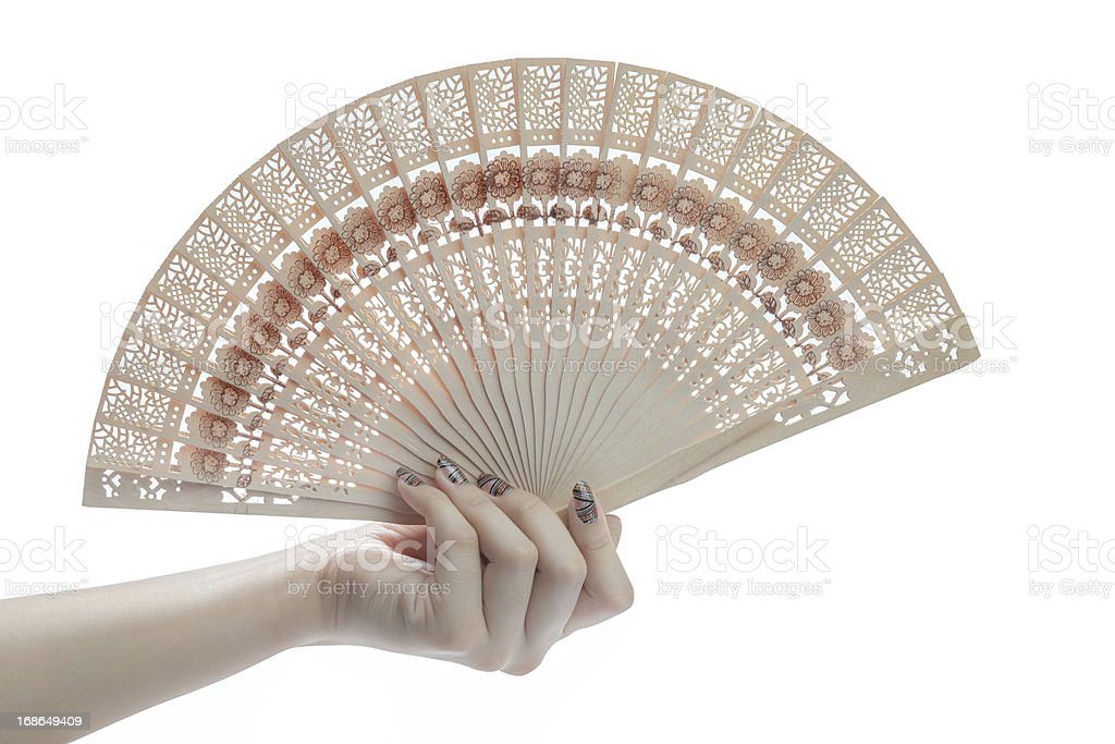 Hand hold fan royalty-free stock photo