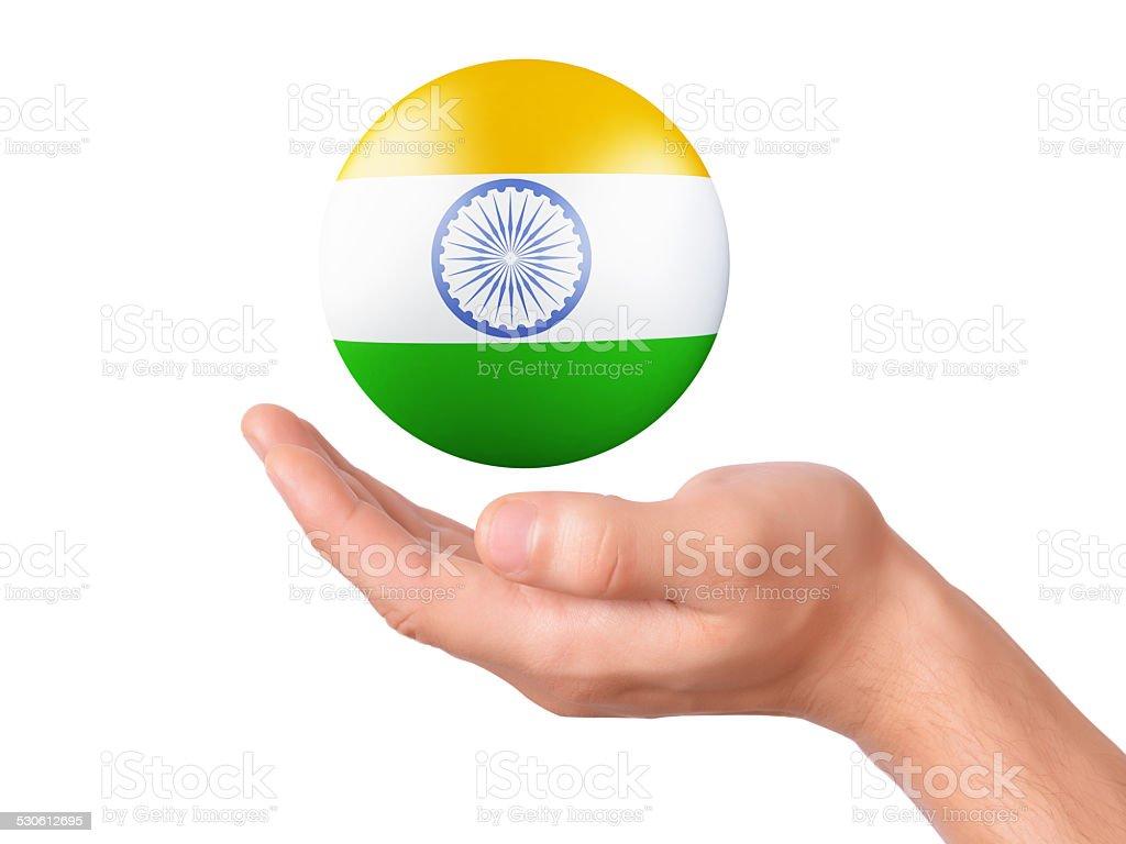 hand hold india flag icon on white bakground stock photo