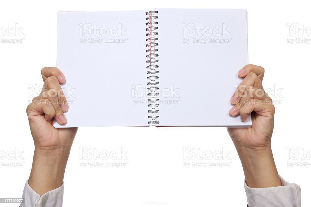 Hand Hold Notebook stock photo