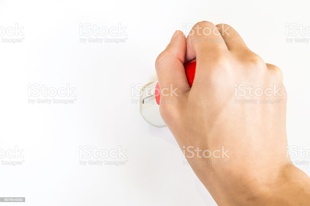 hand hold rubber stamper stock photo