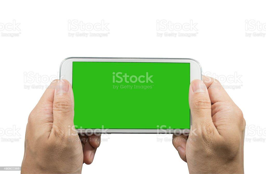 Hand hold smartphone white background stock photo