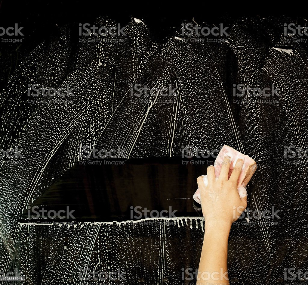 hand hold sponge  for washing stock photo