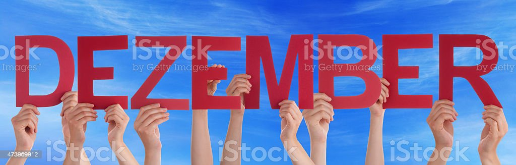 Hand Hold Straight Word Dezember Mean December Sky stock photo