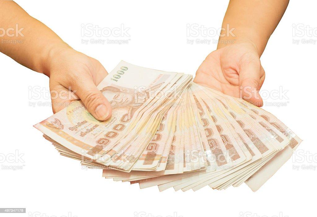 Hand hold the money stock photo