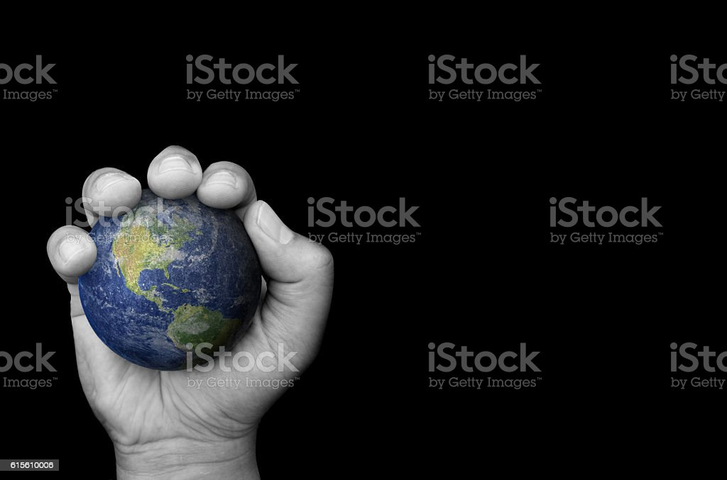 hand hold world stock photo
