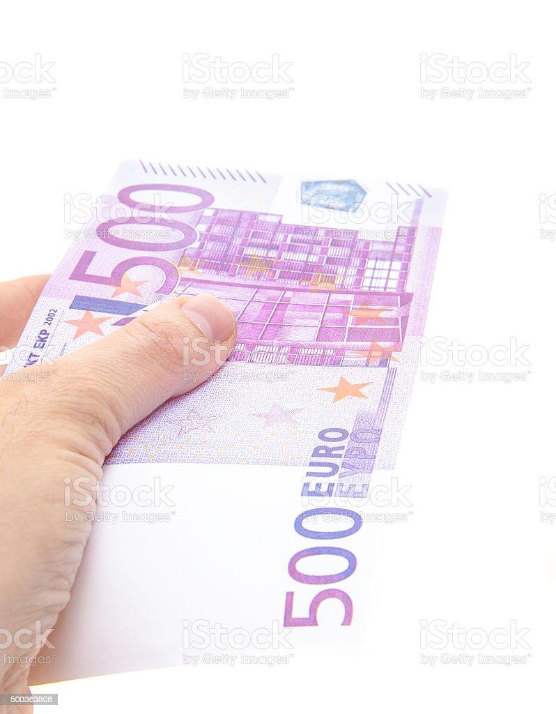 Hand holding 500 euro note stock photo