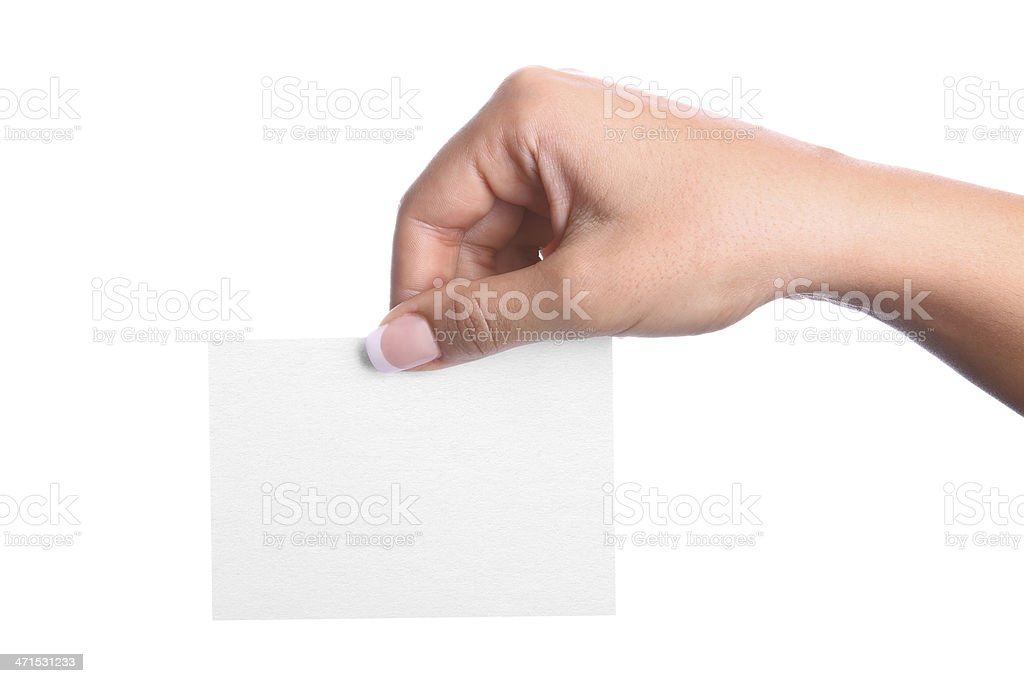 Hand holding a blank business card (Isolated) royalty-free stock photo