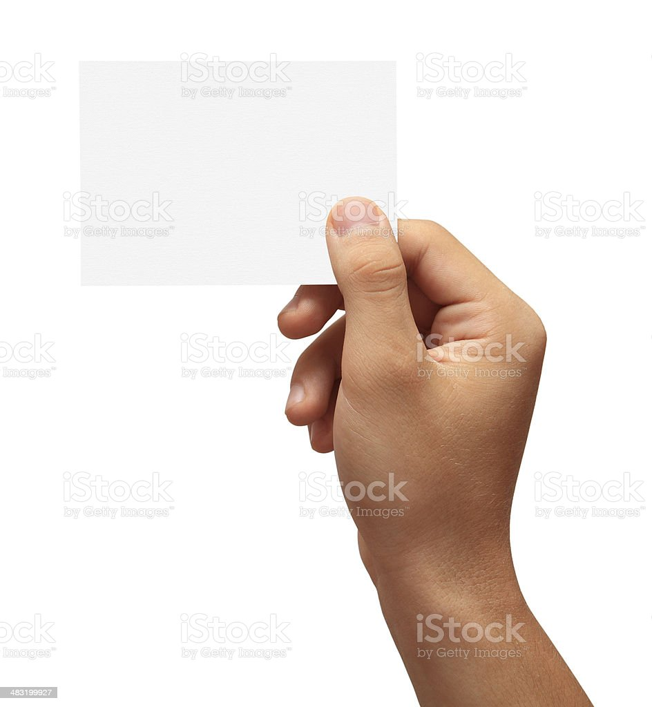 Hand holding a blank business card stock photo