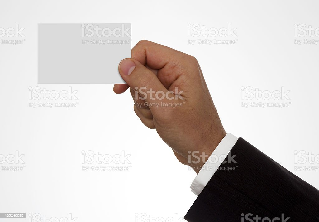 Hand Holding A Blank Business Card With Clipping Path royalty-free stock photo