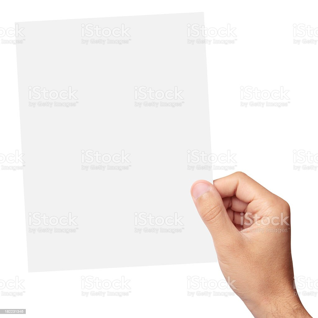 Hand holding a blank piece of paper stock photo