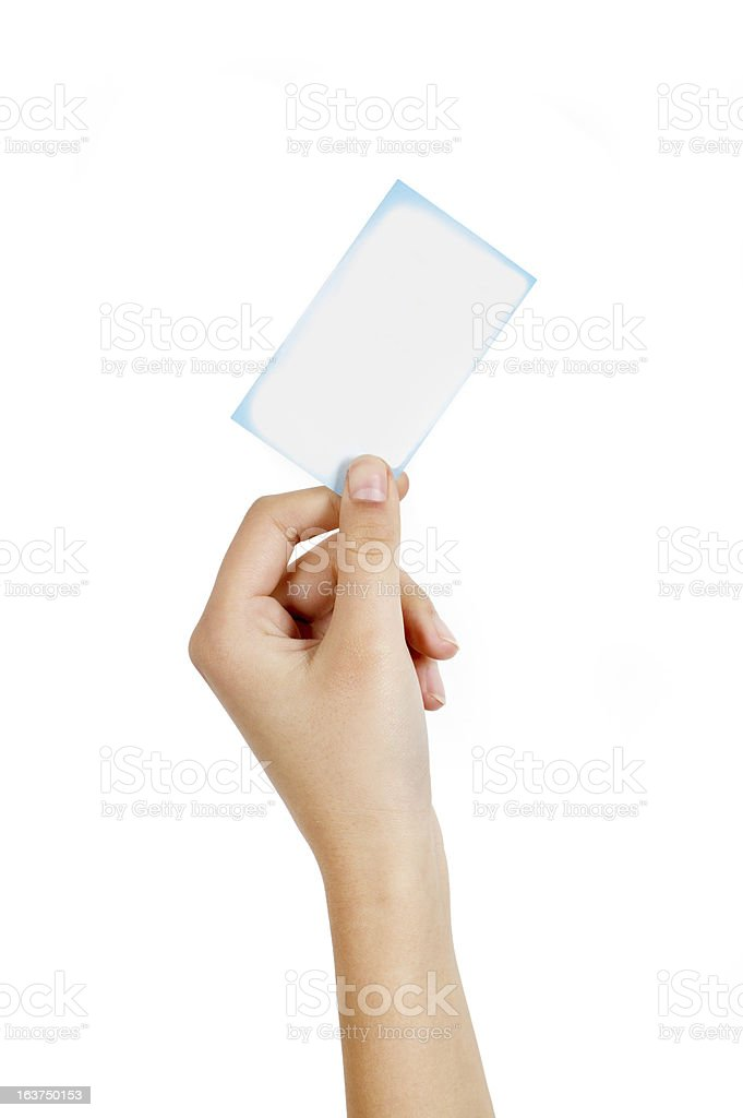 Hand holding a card royalty-free stock photo
