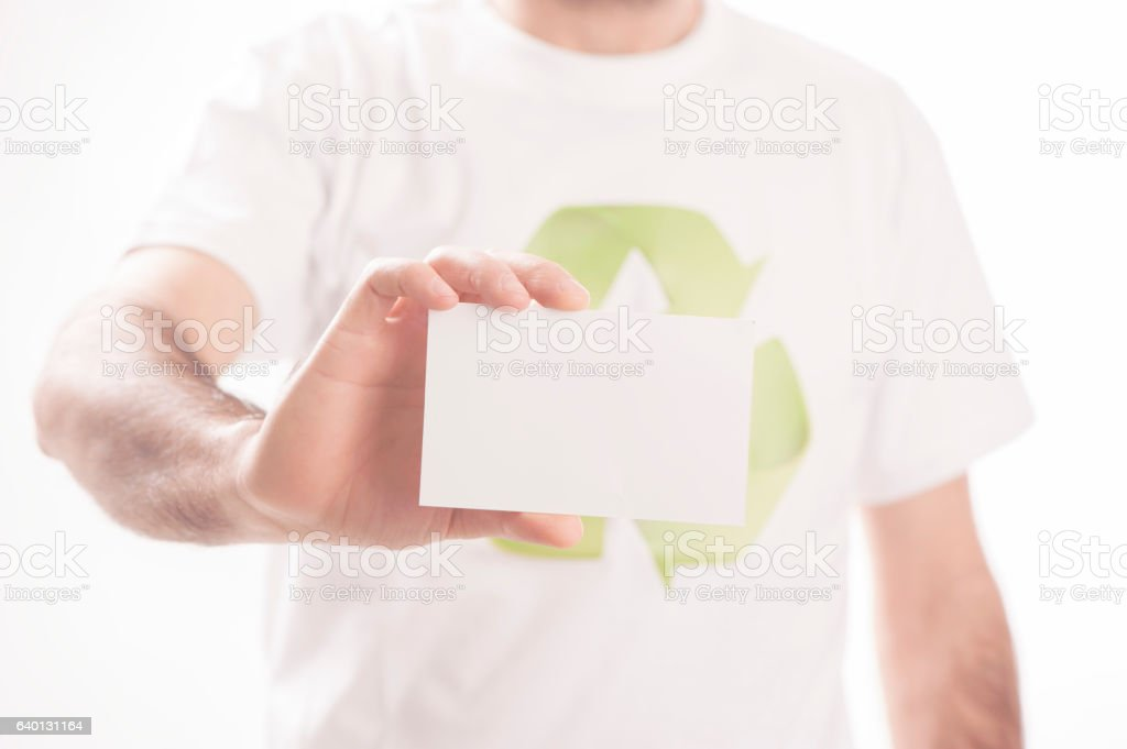 hand holding a card stock photo