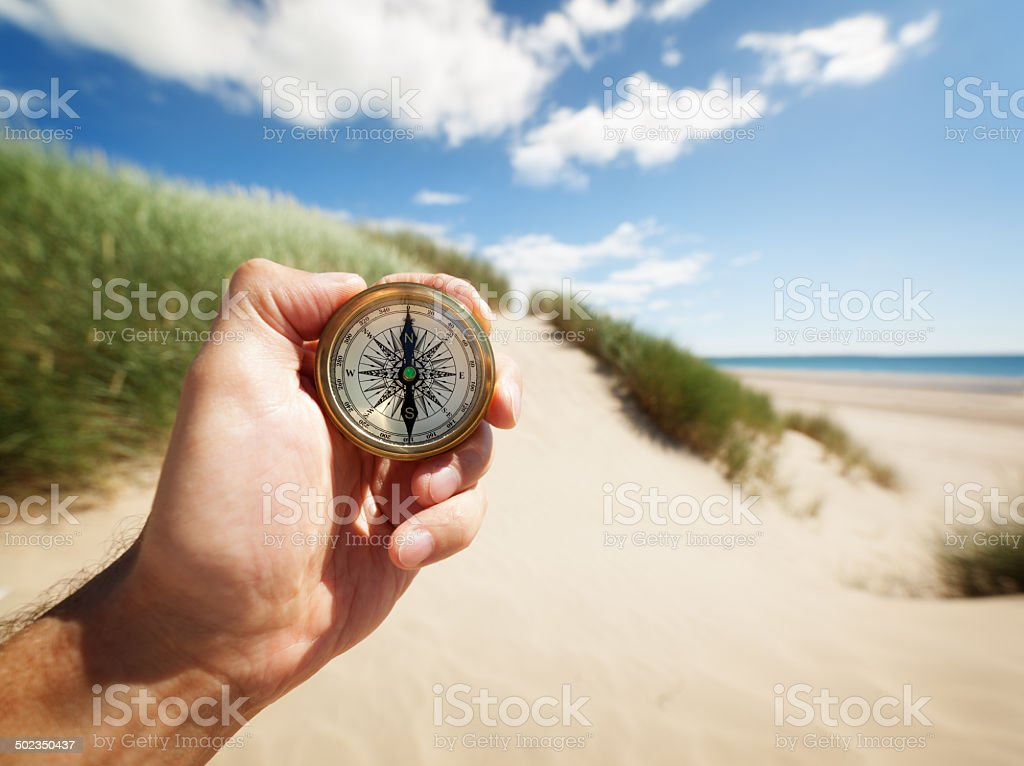 Hand holding a compass stock photo