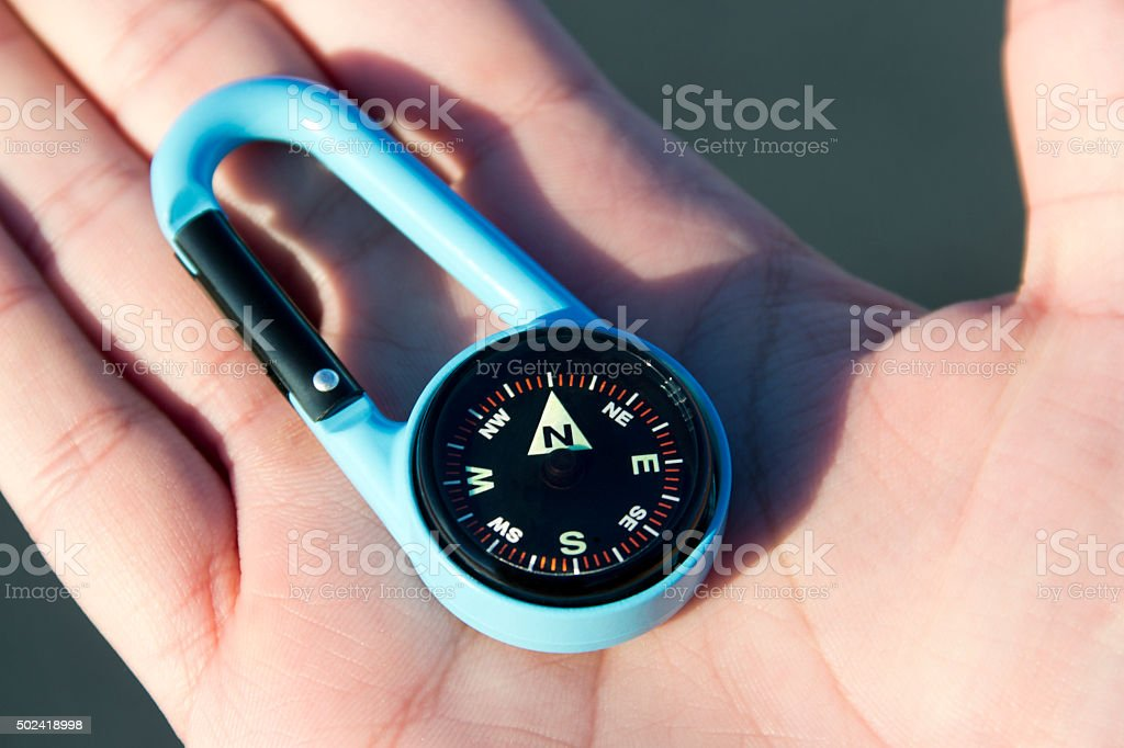 Hand holding a compass. stock photo