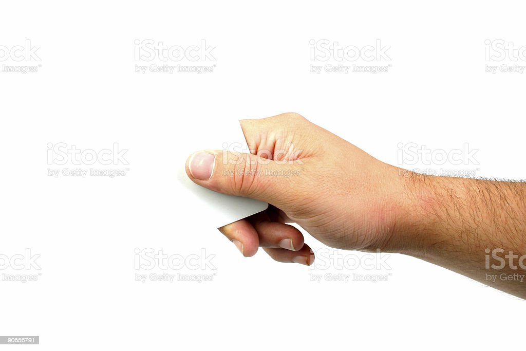 Hand Holding a Corner royalty-free stock photo