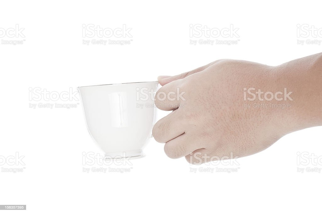 hand holding a cup of coffee isolated royalty-free stock photo