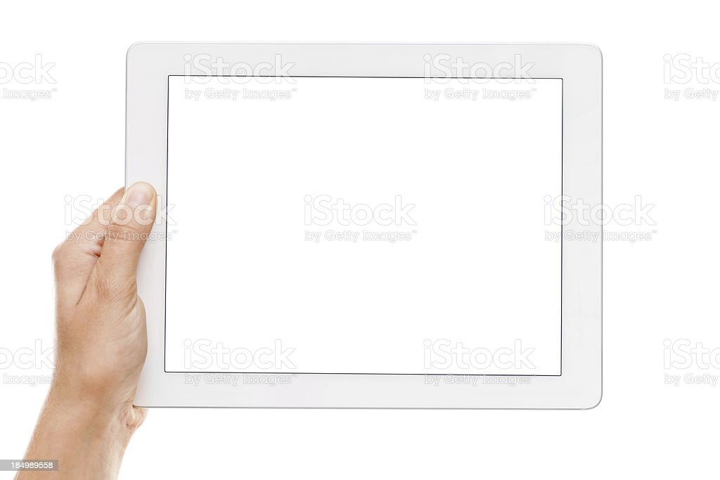 Hand holding a digital tablet with empty display stock photo