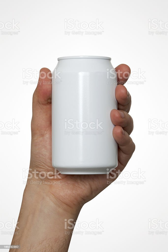 Hand With Clipping Path Holding A Can stock photo