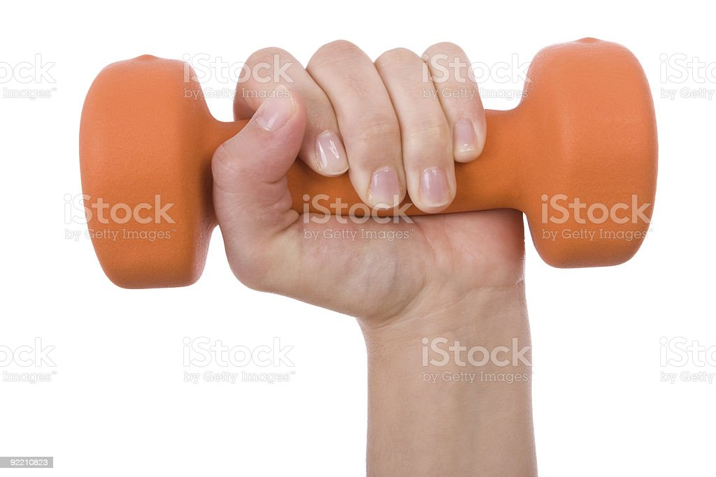 hand holding a dumbbell isolated on white royalty-free stock photo