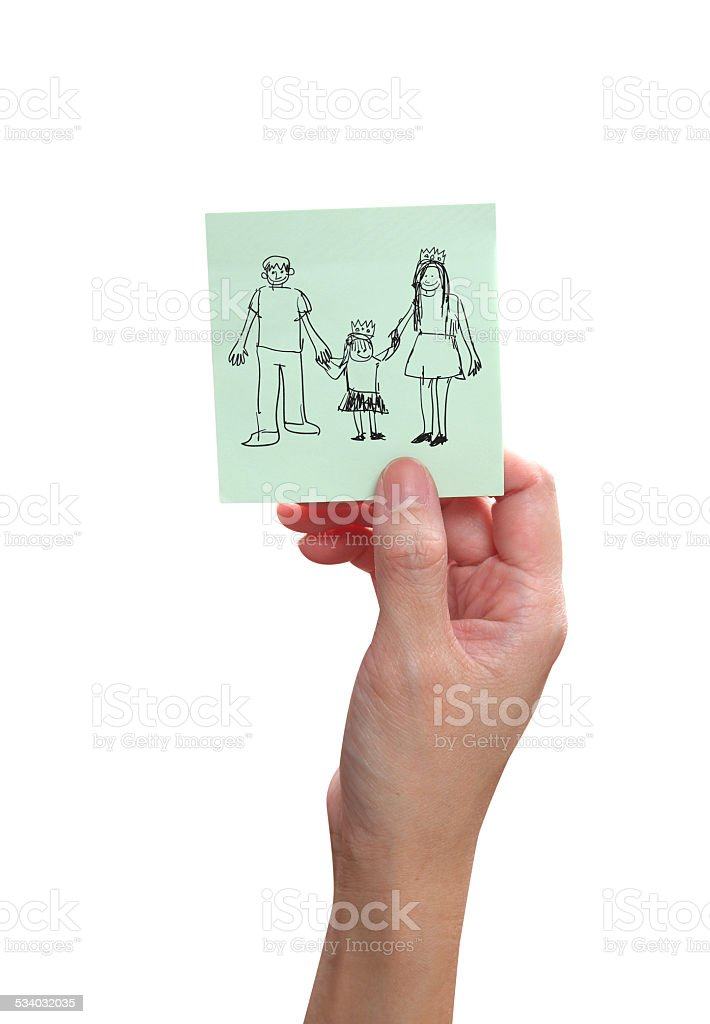 Hand holding a family on paper vector art illustration