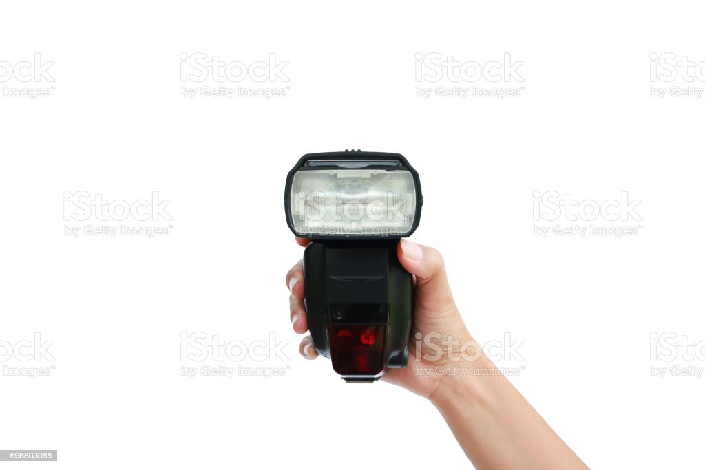 hand holding a flash light isolated on white background. stock photo