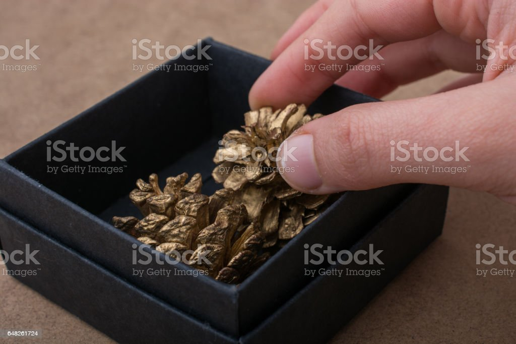 Hand holding a gift box of black color stock photo