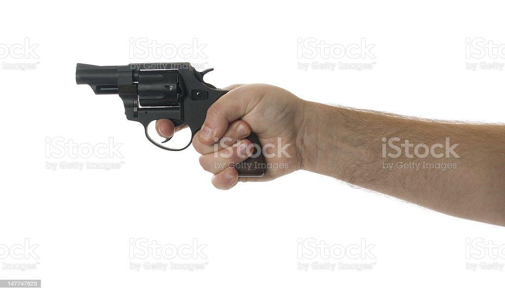 Hand holding a gun stock photo