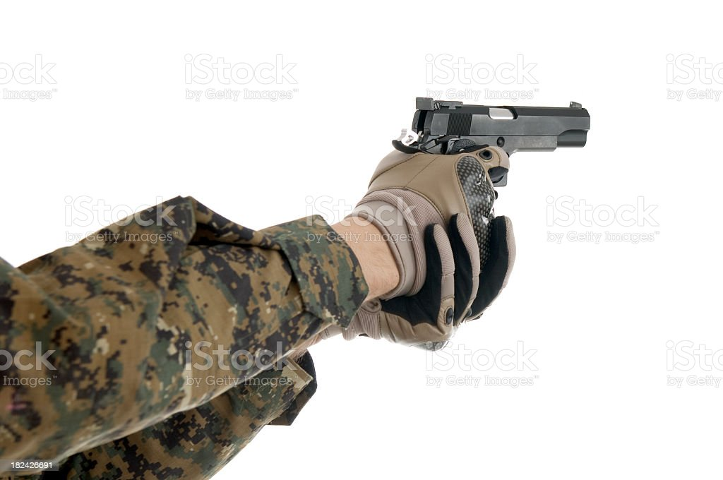 Hand holding a gun royalty-free stock photo