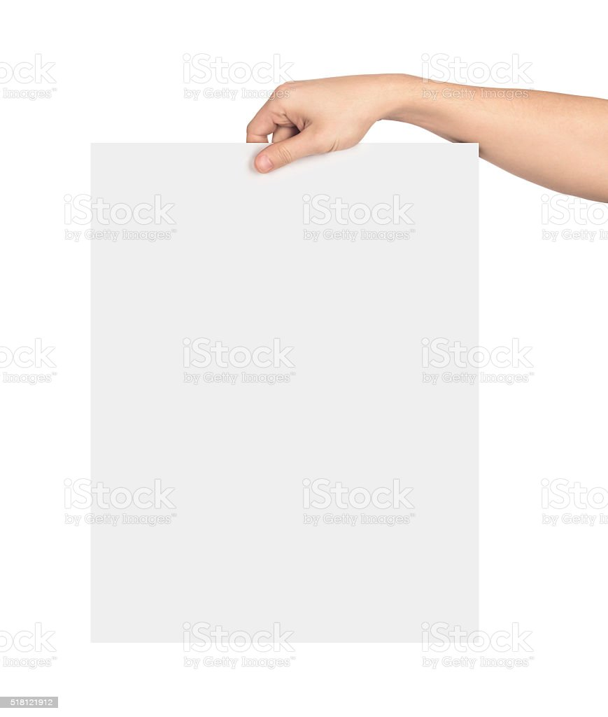 Hand holding a large blank sheet of paper stock photo