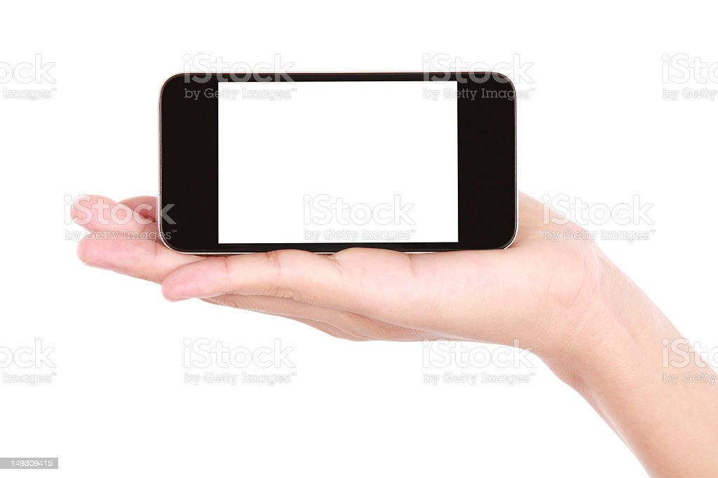 Hand holding a mobile device stock photo