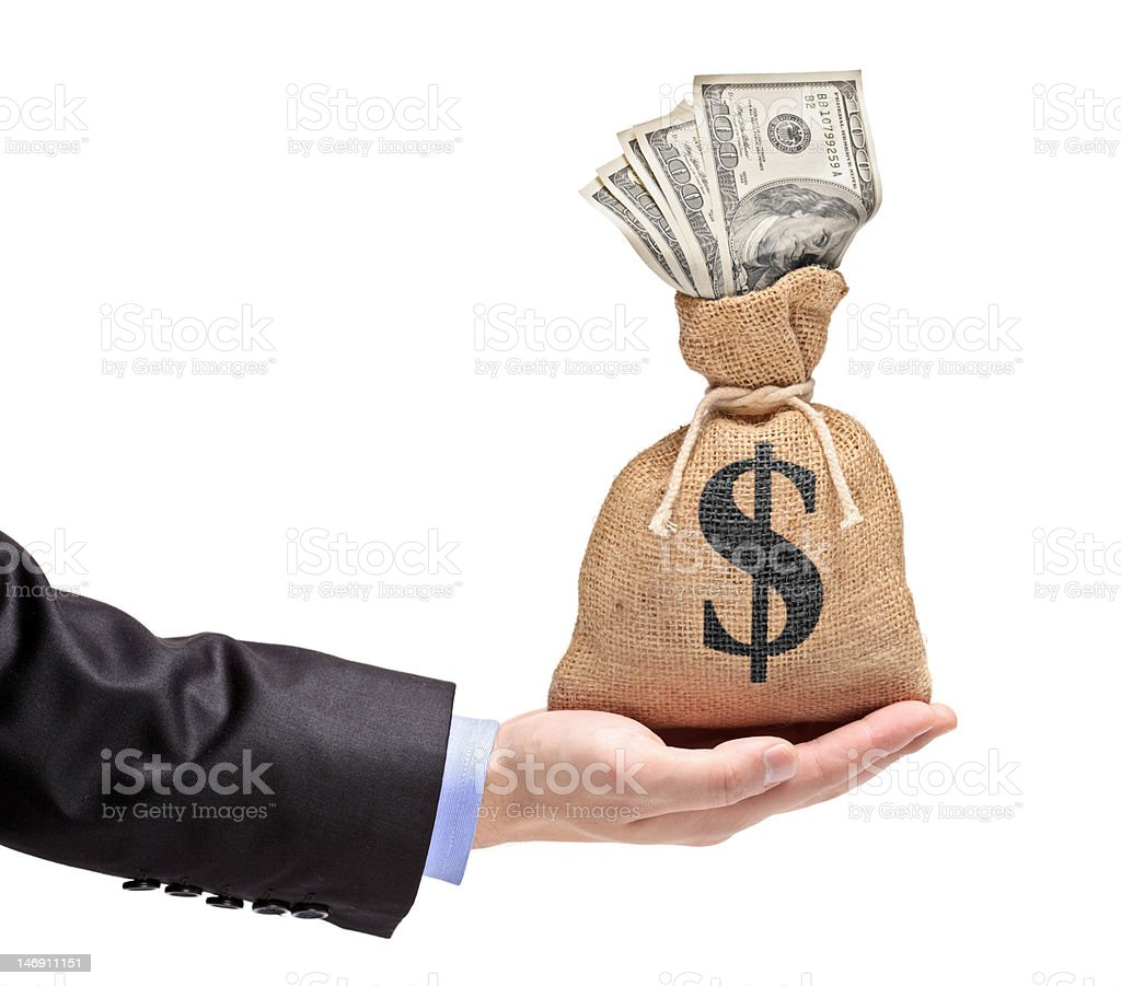 Hand holding a money bag with US dollar stock photo