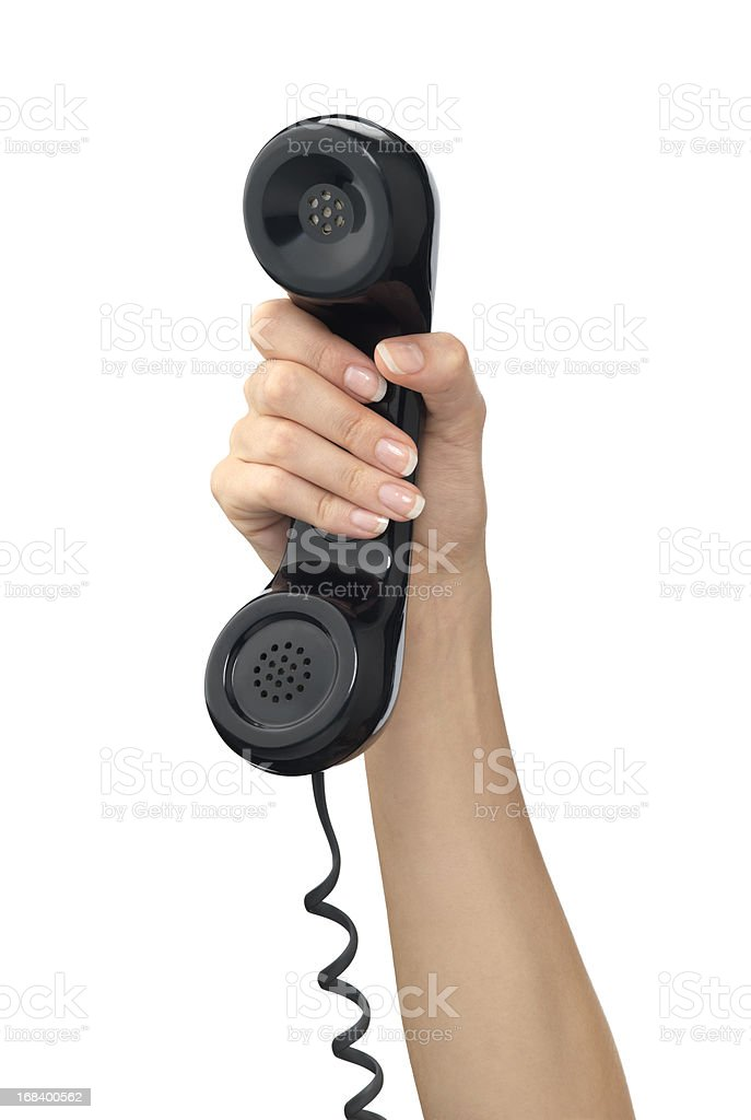 Hand holding a phone stock photo