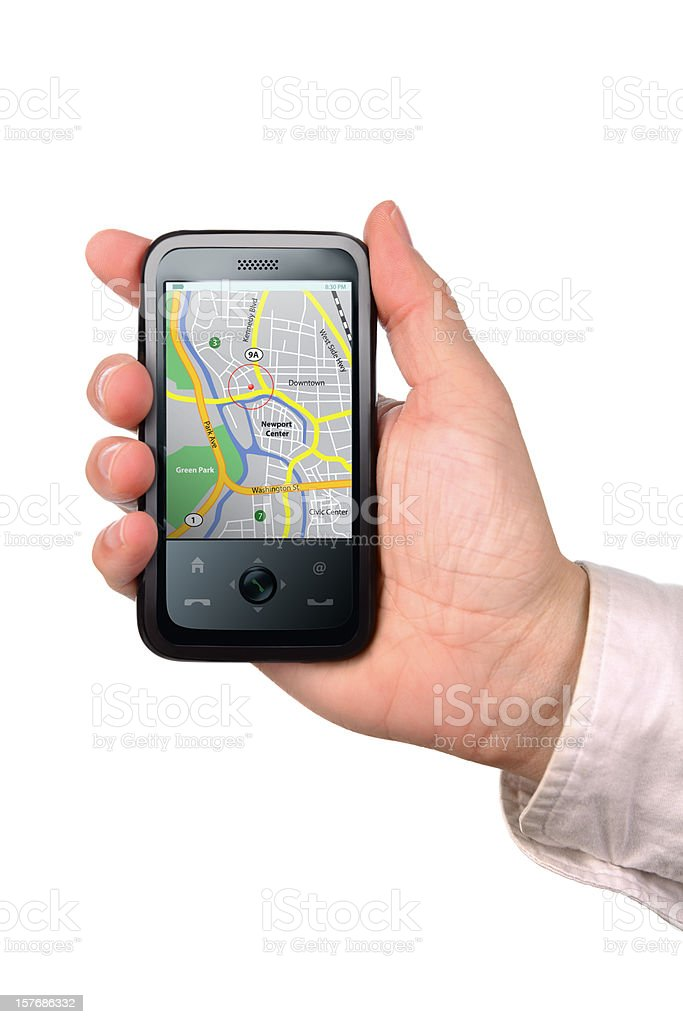Hand Holding a Phone with GPS Navigation royalty-free stock photo