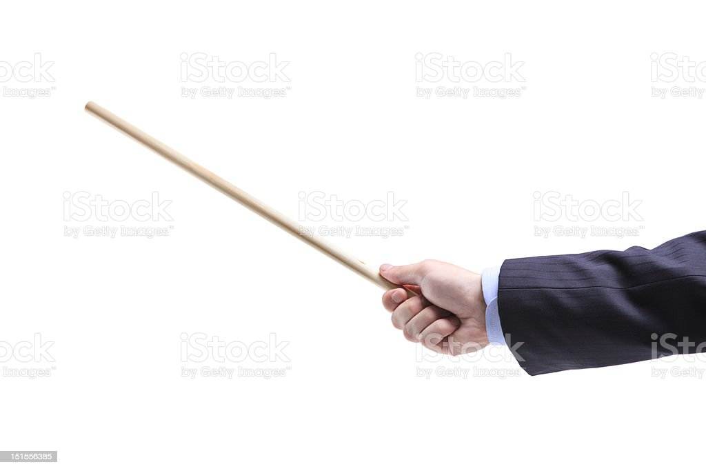 Hand holding a pointing stick stock photo