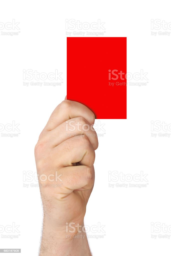 Hand holding a red card stock photo