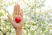 Hand holding a red heart as a symbol of love