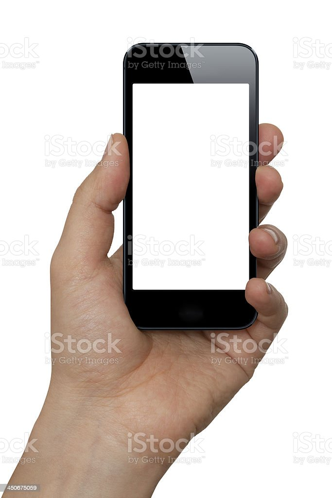 Hand Holding A Smart Phone With Two Clipping Paths royalty-free stock photo